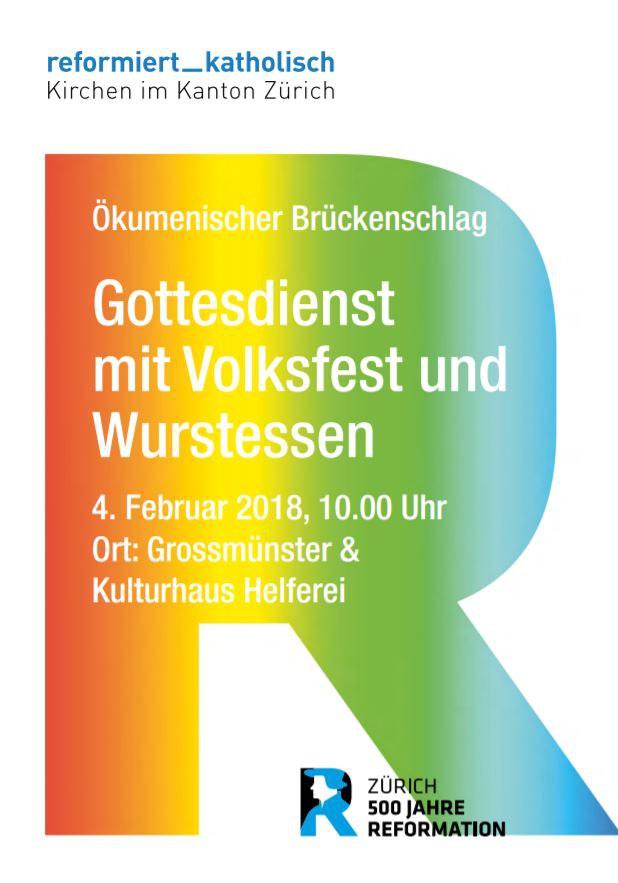 Flyer Brückenschlag mit Gottesdienst, Wurstessen und Volksfest