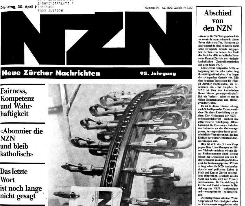 Die letzte Ausgabe der NZN am 30. April 1991