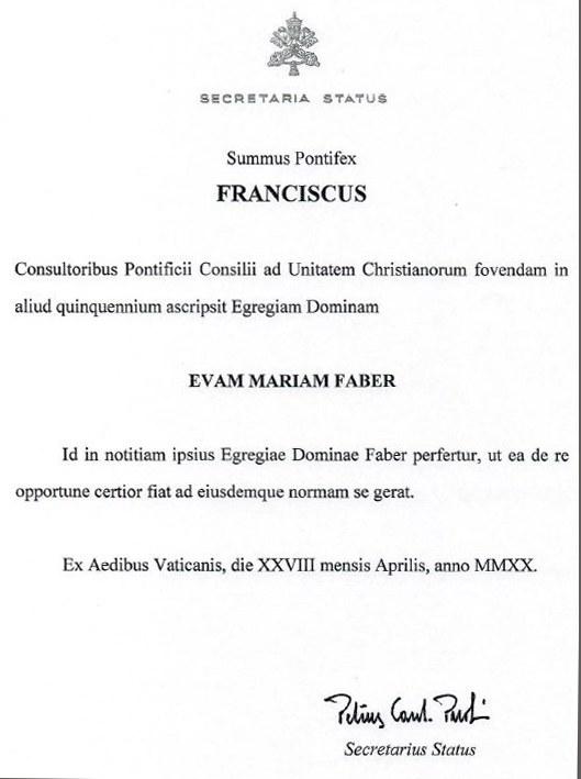 Bestätigungsschreiben von Kardinalstaatssekretär Pietro Parolin