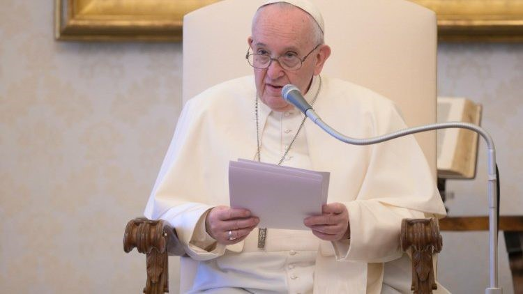 Der Papst bei seiner Ansprache in Rom.