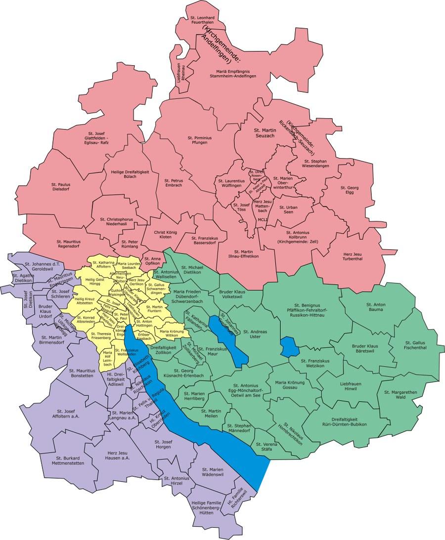 Pfarreien und Dekanate im Kanton Zürich