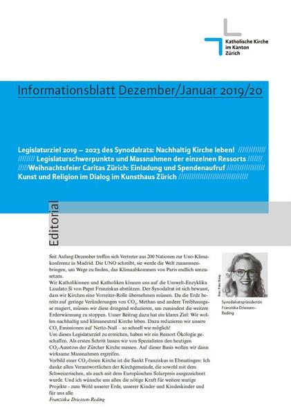 Nachhaltig Kirche leben! Legislaturziele / Informationsblatt Dezember 2019